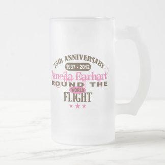 Amelia Earhart 75 Year Anniversary 16 Oz Frosted Glass Beer Mug