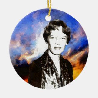 Amelia Earhart Artwork Ceramic Ornament