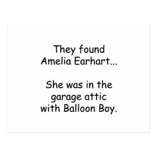 Amelia Earhart & Balloon Boy Postcard