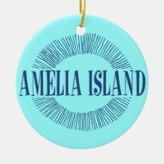 Amelia Island in blue with sun design Ceramic Ornament