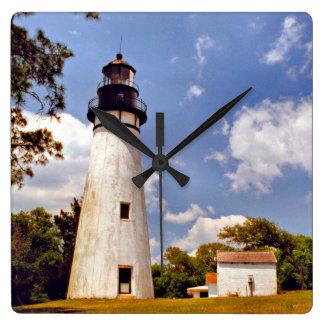 Amelia Island Lighthouse Florida Square Wall Clock