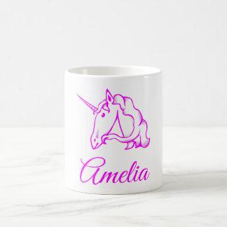 Amelia or Your Name Pink Unicorn Cute Magical Coffee Mug