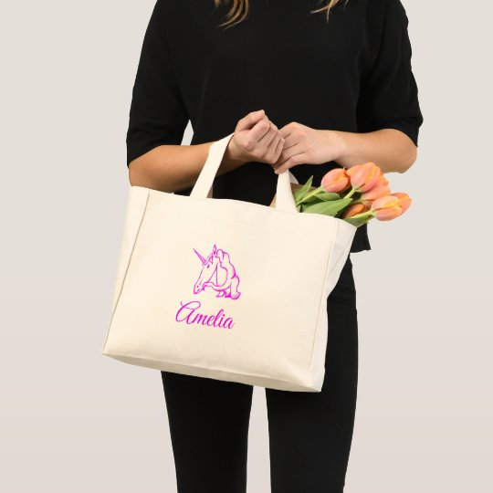 Amelia or Your Name Pink Unicorn Cute Magical Mini Tote Bag