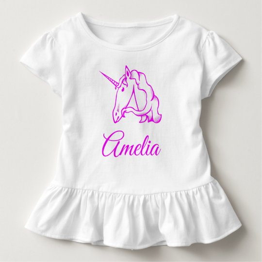 Amelia or Your Name Pink Unicorn Cute Magical Toddler T-shirt