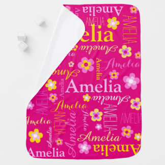 Amelia text flower graphic girls name baby blanket