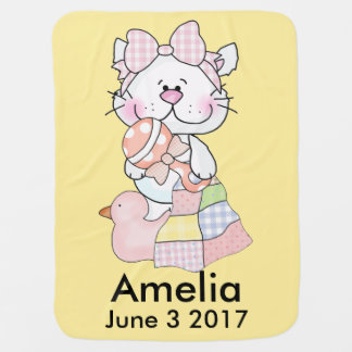 Amelia's Personalized Kitty Baby Blanket