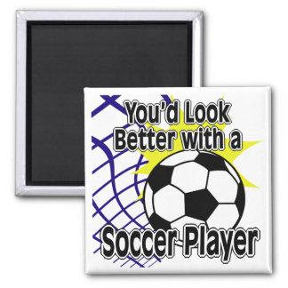 Améliorez avec un footballeur magnet carré