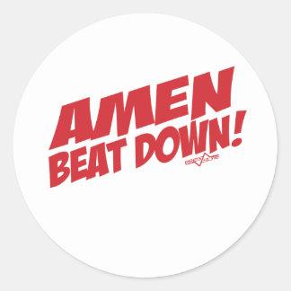 AMEN Beatdown R Classic Round Sticker