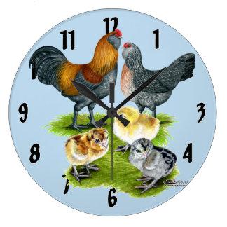 Ameraucana Chicken Family Large Clock
