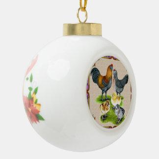 Ameraucana Family Framed Ceramic Ball Christmas Ornament
