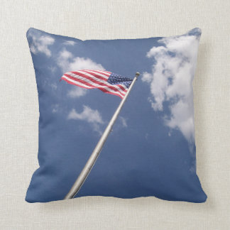 Amercan flag blue sky clouds throw pillow