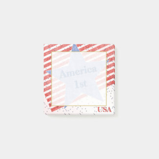 """""""America 1st""""  Quote Textured Stars and Stripes Post-it Notes"""