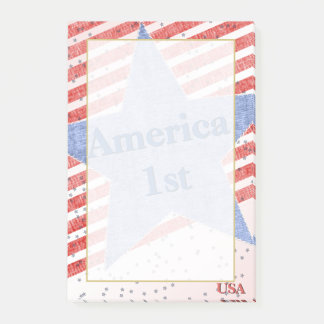 """America 1st""  Quote Textured Stars and Stripes Post-it Notes"
