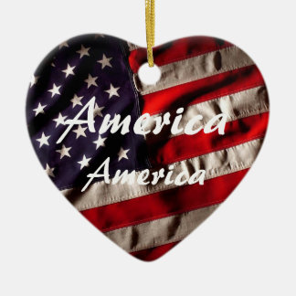 America, America God Shed His Grace on Thee Ceramic Heart Ornament
