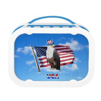 America Bald Eagle And Flag Lunchbox