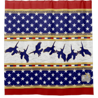 America Blue Bald Eagle Stars Red Shower Curtain