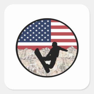 America Boarders Square Sticker