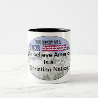 america christian nation Two-Tone coffee mug