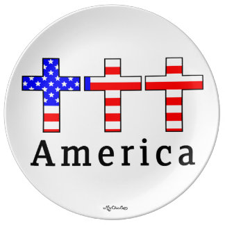 America Christianity! PLATE Porcelain Plate