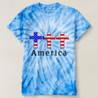 America Christianity! TIEDYE BLUE TSHIRT! T-shirt