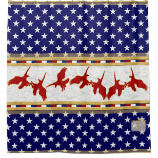 America Colors Red Bald Eagle Stars Shower Curtain
