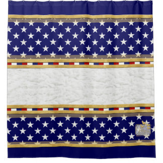 America Colors Stars Plain Blue Shower Curtain