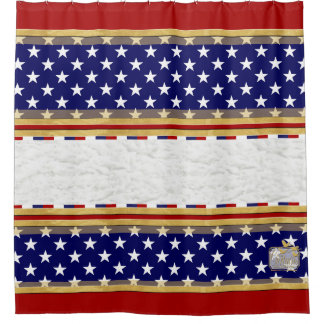 America Colors Stars Plain Red Shower Curtain