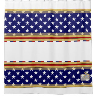 America Colors Stars White Shower Curtain