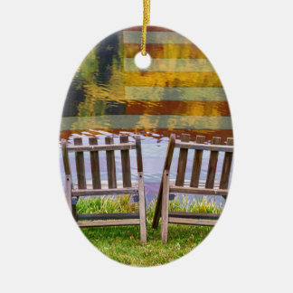 America Day Dreaming For Two Ceramic Oval Ornament
