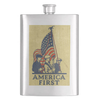 America First American Flag Patriots Vintage Text Hip Flask