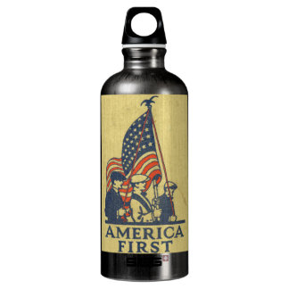 America First American Flag Patriots Vintage Text Water Bottle