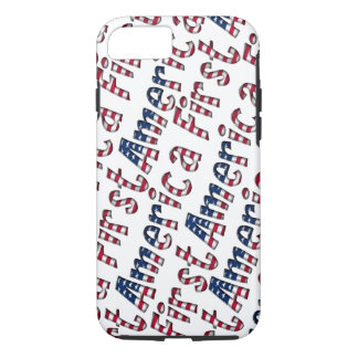 America First American Flag Typography Patriotic iPhone 8/7 Case
