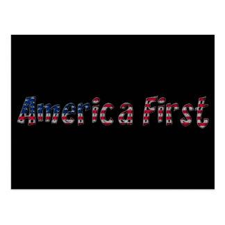America First American Flag Typography Patriotic Postcard
