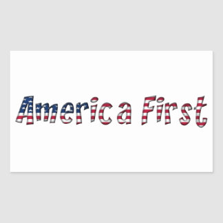 America First American Flag Typography Patriotic Sticker