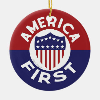 AMERICA FIRST PATRIOTIC LOVE OF COUNTRY PROSPERITY CERAMIC ORNAMENT