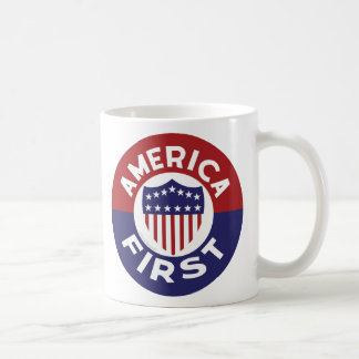 AMERICA FIRST! Patriotic Retro Antique Anti-War Coffee Mug