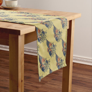 America First Patriotic USA American Flag Vintage Short Table Runner