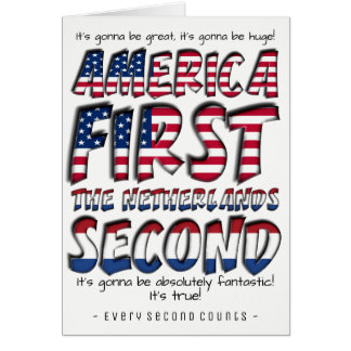 America First The Netherlands Second Typography Card