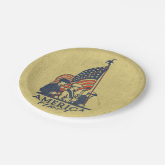 America First Typography Vintage US Flag American 7 Inch Paper Plate