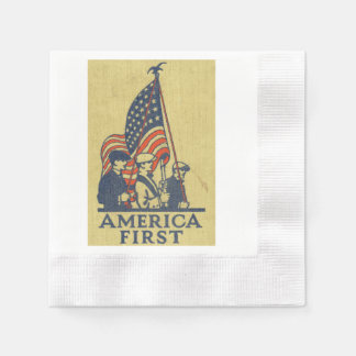 America First Typography Vintage US Flag American Paper Napkins