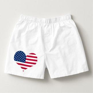 America flag American USA heart Boxers