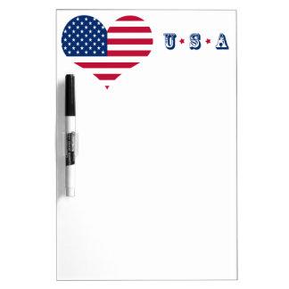 America flag American USA heart Dry Erase Boards