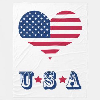 America flag American USA heart Fleece Blanket
