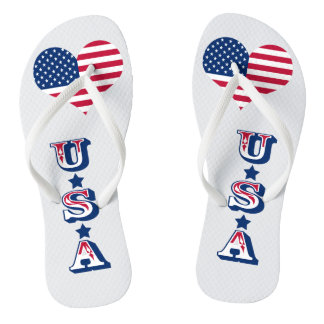 America flag American USA heart Flip Flops