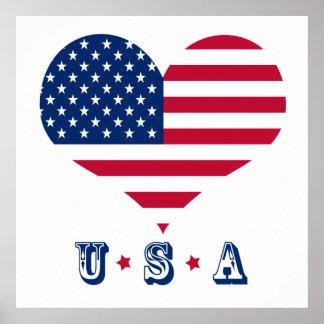 America flag American USA heart Poster