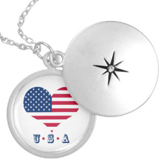 America flag American USA heart Silver Plated Necklace