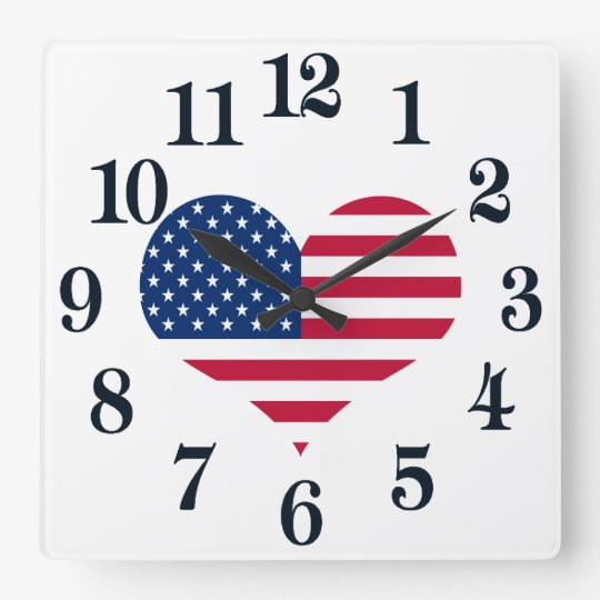 America flag American USA heart Square Wall Clock