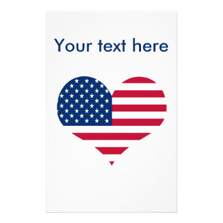America flag American USA heart Stationery
