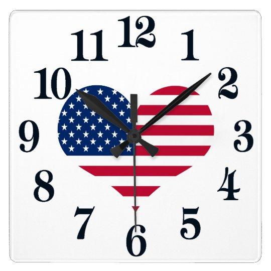 America flag American USA heart Wall Clocks