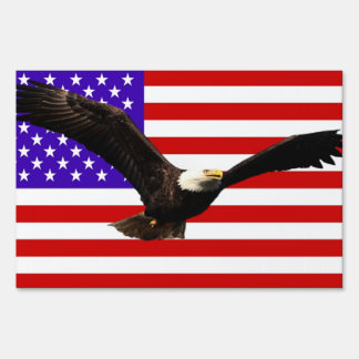 America flag Bald Eagle USA Sign